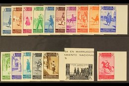 MOROCCO 1937 First Anniv. Of Civil War IMPERFORATE Set Complete Incl 20c Express Stamp, As SG 184/E200 (Edifil 169/185), - Spain