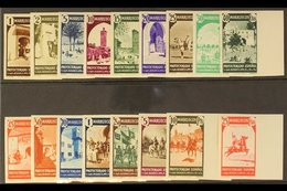 """MOROCCO 1940 Pictorials With """"ZONA"""" Backstamp IMPERFORATE Set Complete Including The 25c Express Stamp, As SG 217/E233 ( - Spain"""
