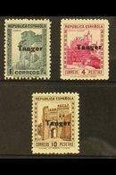 TANGIER 1939 HIGH VALUES Group With 1 Peseta (SG 99, Ed 124), 4 Peseta Magenta (SG 101, Ed 126) & 10 Peseta Brown (SG 10 - Spain