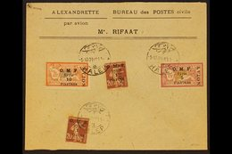 1921 Flown Cover From Halep To Alexandrette Franked 1921 Airmail Set, SG 86/88 Plus 1pi On 20c Brown Lake Sower. For Mor - Syria