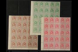 1942 1m Red-brown, 2m Green & 4m Carmine-pink Emir Abdullah Litho, SG 222/23 & 225, Never Hinged Mint Lower Left Corner  - Jordan