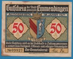 EMMENDINGEN 50 PFENNIG 1921 LANDSITZ ENDERLIN No 09927 - [11] Emissions Locales