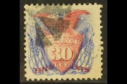 1869 30c Lake And Deep Ultramarine Pictorial, SG 123a, Scott 121, Superb With Part Segmented Cork Cancel, Buhler Guarant - United States