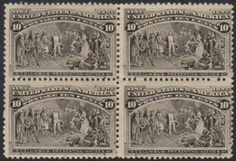 1893 Columbian Exposition 10c Black Brown (Sc 237, SG 242a) Fine Fresh Mint BLOCK OF FOUR, The Two Lower Stamps NEVER HI - United States