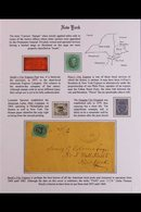 NEW YORK CARRIER STAMPS. A Beautiful Collection Displayed On Two Exhibition Pages Of 7 Stamps & 2 Covers Includes The Bo - United States