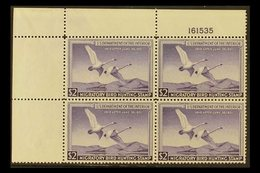 """REVENUE - """"DUCK"""" STAMPS 1950 $2 Violet, Scott RW17, Very Fine NEVER HINGED MINT CORNER BLOCK OF FOUR With Plate Number.  - United States"""