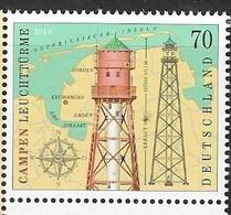 GERMANY, 2019, MNH, LIGHTHOUSES, CAMPEN LIGHTHOUSE, MAPS,1v - Lighthouses