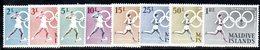 APR2170 - MALDIVE 1964 , Serie  Yvert N. 139/146  ***  MNH  (2380A) .  Tokyo - Maldive (1965-...)