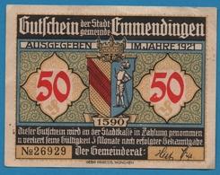 EMMENDINGEN 50 PFENNIG 1921 GASTHAUS Zum LÖWEN  No 26929 - [11] Emissions Locales
