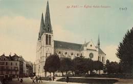 64 Pau Eglise Saint Jacques Cpa Carte Colorisée - Pau