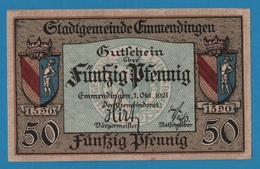 EMMENDINGEN 50 PFENNIG 1.10.1921 CORNELIA & J.G.SCHLOSSER - [11] Emissions Locales