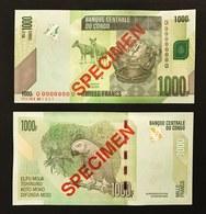 CONGO DEMOCRATIC 1000 Francs 30.06.2013 SPECIMEN UNC Fds LOTTO 339 - Repubblica Democratica Del Congo & Zaire