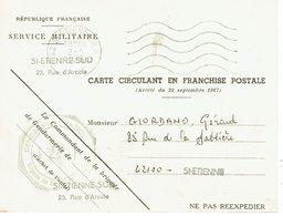 Carte En Franchise Militaire Convocation Service Militaire Saint Etienne 2-4-1976 - Covers & Documents