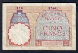Marocco Morocco Maroc 5 Francs 14 11 1941 LOTTO 081 - Marokko