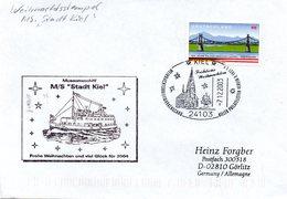 """(FC-15) Cachet-Umschlag Museumsschiff """"M/S Stadt Kiel - Weihnachsstempel"""" EF BRD Mi 2345 SSt 7.12.2003 KIEL - Schiffe"""