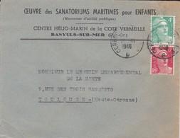 LETTRE--66---BANYULS SUR MER-1948--préventorium Hélio-marin-oeuvre Des Sanatoriums Maritimes Pour Enfants-voir 2 Scans - Marcophilie (Lettres)
