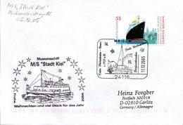 """(FC-15) Cachet-Umschlag Museumsschiff """"M/S Stadt Kiel - Weihnachsstempel"""" EF BRD Mi 2412 SSt 11.12.2005 KIEL - Schiffe"""