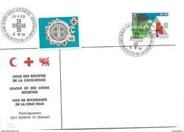 """206 - 54 - Enveloppe Avec Oblit Spéciale """"Ligue Des Sociétés De La Croix-Rouge 1969 Genève"""" + Vignette - Marcophilie"""