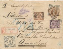 Nederlands Indië - 1910 - 12,5 Op 15 Cent Envelop Als R-cover Van VK AMOENTHAI Via GR Bandjermasin Naar Amersfoort - Nederlands-Indië