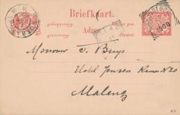 Nederlands Indië - 1908 - 5 Cent Cijfer, Briefkaart Van VK BODJONEGORO Via GR Soerabaja Naar VK Malang - Nederlands-Indië