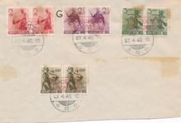 Nederlands Indië - 1946 - 4 Zegels Uit Danserserie In Paar Met Opdruk REPOEBLIK INDONESIA Op Cover Zonder Adres - Nederlands-Indië