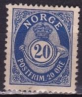Norway 1893 POSTFRIM 20Ore Ultramarin 14½ : 13½ Michel 57 A (*) - Norvège