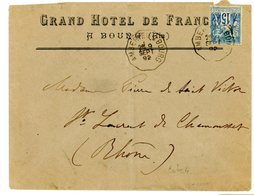 AIN ENV 1892 AMBERIEU A BOURG CONVOYEUR - Storia Postale