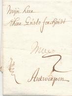 738/29 - Lettre Précurseur 1706 GENT Vers ANTWERPEN - Port 2 Stuivers à L'encre - 1621-1713 (Países Bajos Españoles)