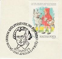 Hongarije 1985, Gelegenheidsstempel Jacob Grimm, Roodkapje En De Wolf - Fairy Tales, Popular Stories & Legends