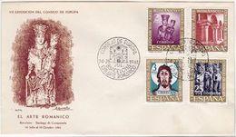 España Spain Espagne 1961: EL ARTE ROMANICO - Santiago De Compostela Michel 1260-63 FDC O BARCELONA 24 JUL 61 - Cristianismo