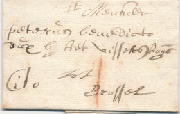 741/29 - Lettre Précurseur 1707 MECHELEN - BRUSSEL - EXPRES Cito -Marque 1 Stuiver à La Craie ( Transport Par Messager ) - 1621-1713 (Países Bajos Españoles)