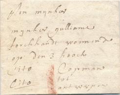 742/29 - Lettre Précurseur 1701 MECHELEN - ANTWERP - EXPRES Cito -Marque 1 Stuiver à La Craie ( Transport Par Messager ) - 1621-1713 (Spanish Netherlands)