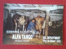 POSTAL POSTCARD QSL RADIOAFICIONADOS RADIO AMATEUR GRUPPO ALFA TANGO FRANCE PUY DE DÔME COW COWS VACHE VACHES VACAS VACA - Tarjetas QSL