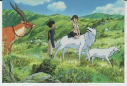 Postcard - Studio Ghibli - Princess Mononoke - With Her Wolves - New - Unclassified