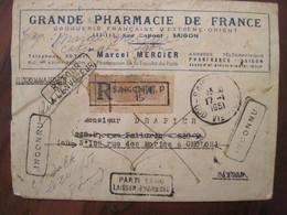 INDOCHINE 1951 France Indo Chine Lettre Enveloppe Cover Colonie Retour Envoyeur Inconnu Parti Sans Laisser Adresse RARE - Marcophilie (Lettres)