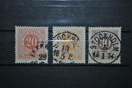 Suède 1872 Y&T 21B-22B-23B (dent 14) Papier Sale - Oblitérés