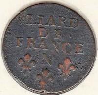 Liard 1694 N Montpellier , 3e Type, Buste âgé Louis XIV - 987-1789 Monnaies Royales
