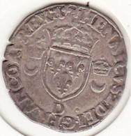 Douzain Aux Croissants 1555 D Lyon. Henri II, En Billon. - 1574-1589 Henri III