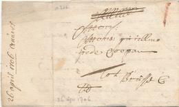 760/29 - Lettre Précurseur 1706 ANTWERPEN Vers BRUXELLES - Marque 1 Stuiver à La Craie ( Transport Par Messager ) - 1621-1713 (Paesi Bassi Spagnoli)