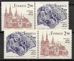 Suède 1993 N°1752/1753 Neufs En Paires Synode D'Uppsala - Unused Stamps