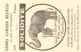 Publicitair Drukwerk Ath Usines Cambier Meubles 1939 - Eléphants