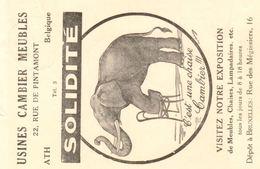 Publicitair Drukwerk Ath Usines Cambier Meubles 1939 - Elephants