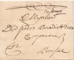 764/29 - Lettre Précurseur 1717 BRUGGE Vers BRUSSEL - Manuscrit De Bruges - Signé Willaert -Marque 3 Stuivers à L' Encre - 1714-1794 (Paises Bajos Austriacos)