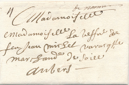 768/29 - Lettre Précurseur 1717 NAMUR Vers ANTWERPEN - Manuscrit De Namur - Marque 4 Stuivers àl'encre - 1714-1794 (Austrian Netherlands)