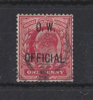 """GB....KING EDWARD VII...(1901-10).. """" O.W.. OFFICIAL """"...1d...SG037...SHORT PERFS...(CAT £180.)....USED. - Servizio"""