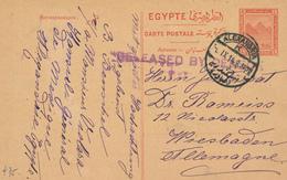 "796/29 -- EGYPTE EGYPT WWI CENSORSHIP - Card ALEXANDRIA 1914 To Germany -  SCARCE Linear "" Released By Censor "" - Égypte"