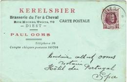 Carte Publicité. Brasserie Du Fer à Cheval, Diest. Kerelsbier. Signée Par Le Propriètaire (Ooms) - Publicité
