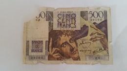 BILLET BANQUE DE FRANCE CINQ CENTS FRANCS CHATEAUBRIAND ANNEE 1945 - 1871-1952 Antichi Franchi Circolanti Nel XX Secolo