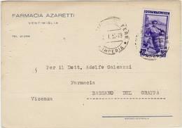 3887 IMPERIA VENTIMIGLIA FARMACIA AZARETTI - 1946-.. Republiek
