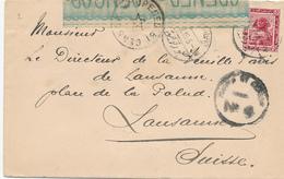 802/29 -- EGYPTE EGYPT WWI CENSORSHIP - Cover PORT TAUFIQ 1915 To Lausanne Suisse - Censor PORT SAID No 4 Black - Égypte